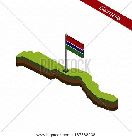 Gambia Isometric Map And Flag. Vector Illustration.
