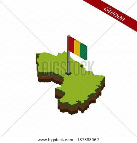 Guinea Isometric Map And Flag. Vector Illustration.