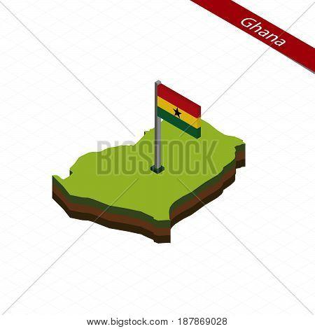 Ghana Isometric Map And Flag. Vector Illustration.