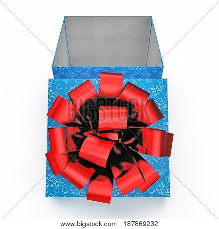 Present box with red overwhelming bow on white background. Front view. 3D illustration