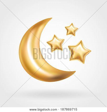 Gold Crescent Moon star balloon Ramadan. Moon balloon on background. Party balloons event design decoration. Balloons isolated air. Party decorations wedding, birthday, celebration, Ramadan, anniversary