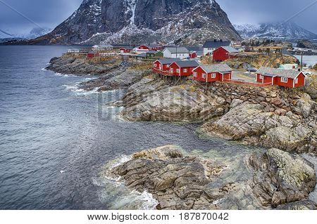 Travel Concepts and Ideas. Classic Traditional Norwegian Fishing Hut Called Hamnoy in Norway. Horizontal Image Composition
