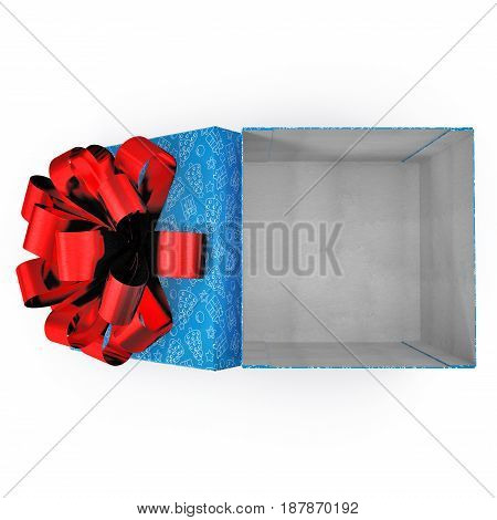 Empty blue gift box on white background. Top view. 3D illustration