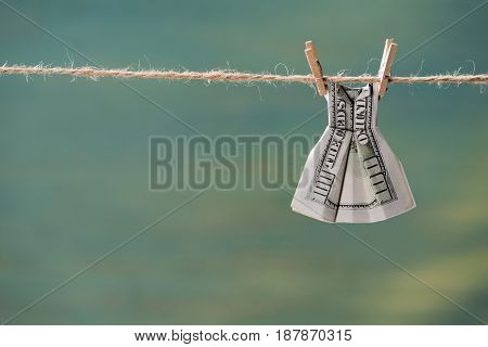 Close Up Of One Hundred Us Dollar Banknote On Clothesline