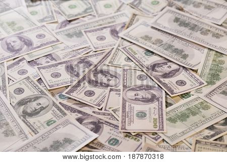 Close Up Of Heap Of Banknotes Of One Hundred Us Dollars
