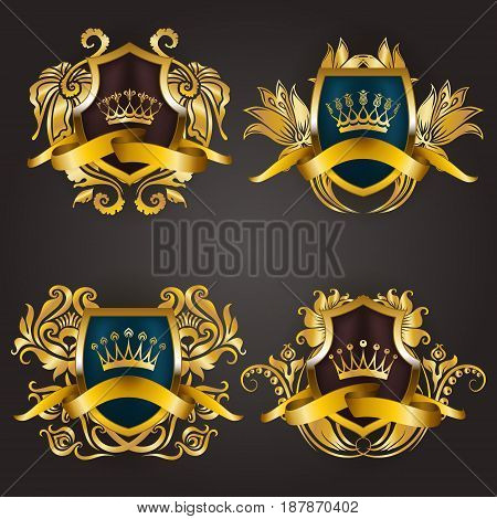 Set of golden royal shields with filigree floral elements for page, web design. Old frames, borders, crowns in vintage style for label, emblem, badge, logo, monograms. Vector illustration EPS10