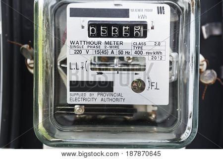 Closeup on WattHour Meter. Power Electric Equipment