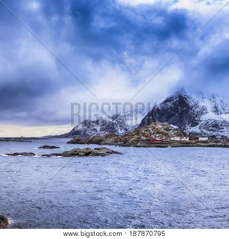 Norwegian Fishing Village Hamnoy Shot From Bridge in the Distance.Square Image Composition
