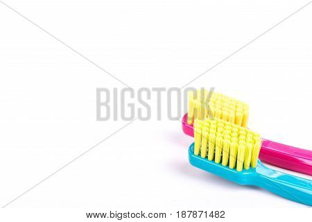 Close up of pink and blue toothbrushes isolated on white background