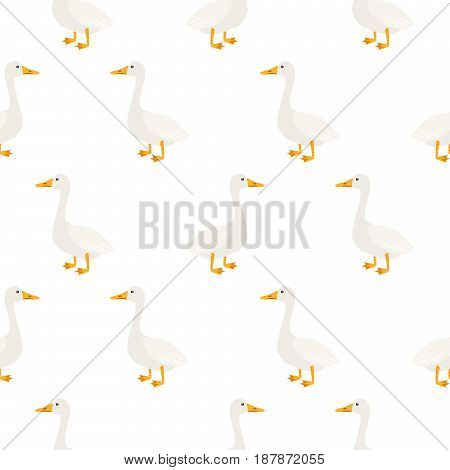 White geese seamless vector pattern. Farm birds simple rustic background texture.