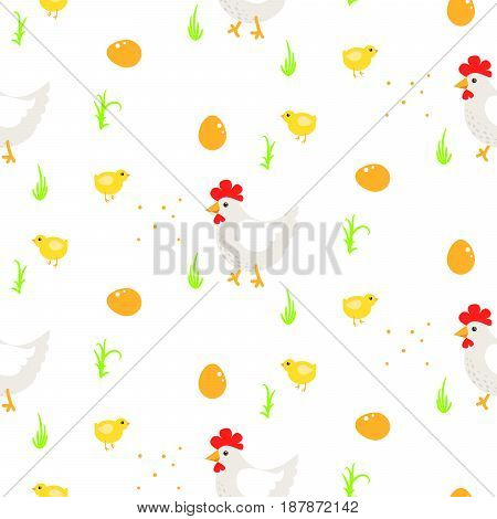 Cartoon rooster and chickens country seamless vector pattern. Farm birds simple rustic background texture with eggs, grass.