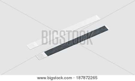 Blank black and white paper wristband mockup 3d rendering. Empty event wrist band design mock up. Plain hand bracelets template isolated. Clear bangle wrstlet set with sticker. Concert armlet