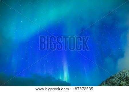 Amazing Picturesque Unique Nothern Lights Aurora Borealis Over Lofoten Islands in Nothern Part of Norway. Over the Polar Circle.Horizontal Image