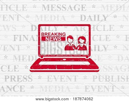 News concept: Painted red Breaking News On Laptop icon on White Brick wall background with  Tag Cloud