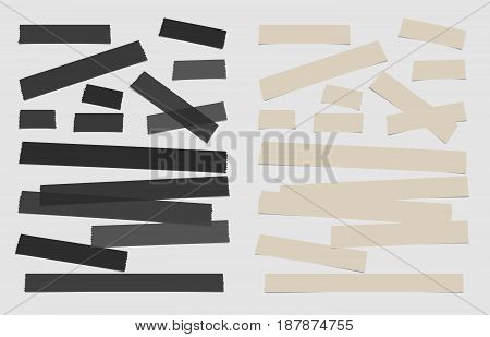 Ripped black and brown note paper strips, adhesive, sticky tape, stuck on white background