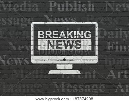 News concept: Painted white Breaking News On Screen icon on Black Brick wall background with  Tag Cloud