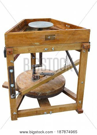 Brown wood potter's wheel isolated over white background