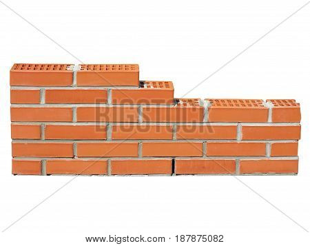 New Red Brick Wall In Construction Process Isolated On White