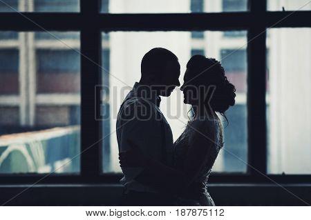Happy wedding couple hugging near window indoor