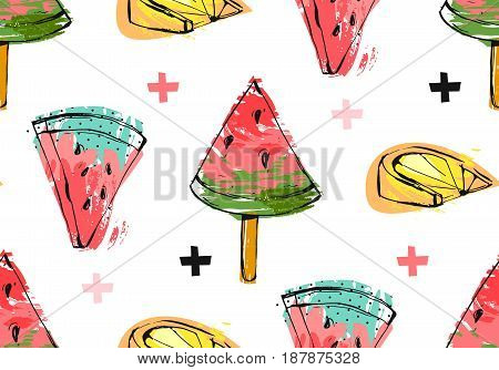 Hand drawn vector abstract unusual summer time seamless pattern with watermelon slice, icecream, lemon and crosses isolated on white background.Wedding, birthday, save the date, fashion fabric, journaling