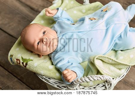 Top view of a baby. Infant lying on cloth. New generation new hope.