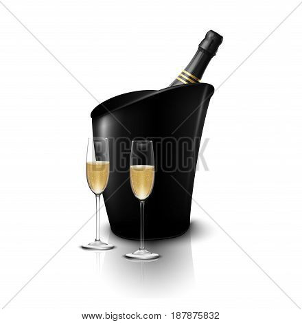 Two wineglasses with wine bottles of champagne in a bucket