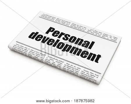 Learning concept: newspaper headline Personal Development on White background, 3D rendering