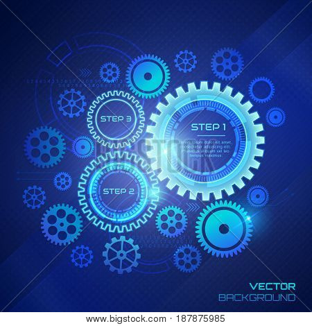 Technology background with gear wheels. Concept design in blue colors. Vector illustration.