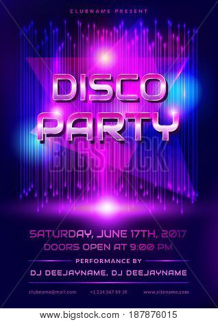 Colorful flyer for disco party. Invitation with shiny background. Vector illustration.