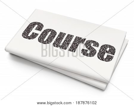 Learning concept: Pixelated black text Course on Blank Newspaper background, 3D rendering