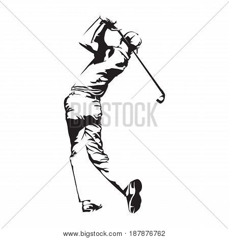 Golf player abstract vector silhouette golfer sketch