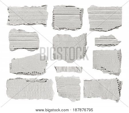 Set of white torn paper pieces for notes