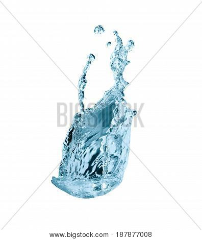 Nice abstract blue water splash on white background