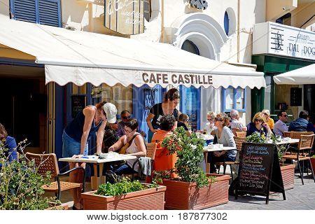 VALLETTA, MALTA - MARCH 30, 2017 - Pavement cafe in the Castille Hotel Valletta Malta Europe, March 30, 2017.