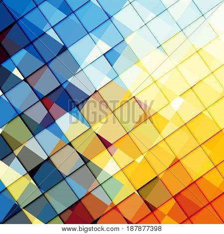 Blue and yellow abstract pattern in low poly style.