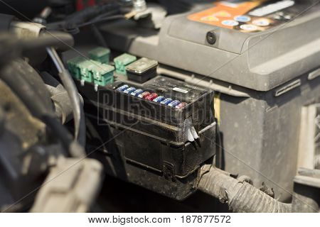 Fuse box under the bonnet of the car