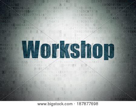 Studying concept: Painted blue word Workshop on Digital Data Paper background