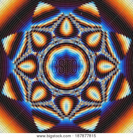 Seamless background pattern. Decorative symmetric mosaic pattern on black background.