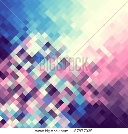 Blue and pink abstract pattern in low poly style.