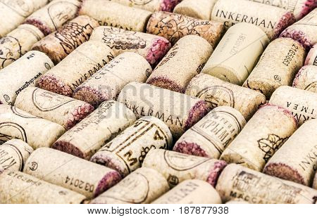 Moscow, Russia - September 03, 2014: Wine corks famous wine producers Massandra, Chateau Inkerman etc