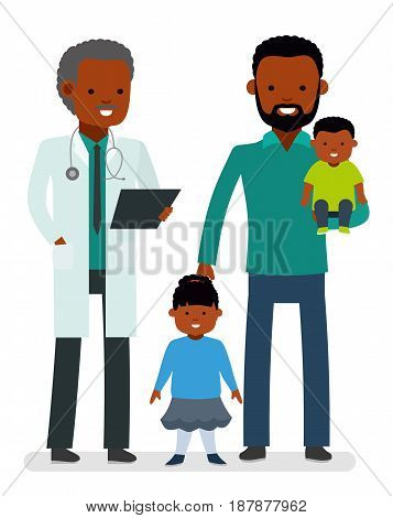 Caring for the health of the child. The pediatrician and the father with son and daughter on a white background. African Americans family. Children's doctor. Vector illustration in a flat style