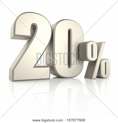 20 percent isolated on white background. 3d render