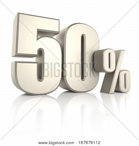 50 percent isolated on white background. 3d render