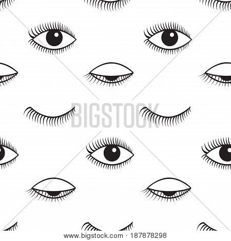 Pattern of open and closed eyes. Vector seamless pattern.
