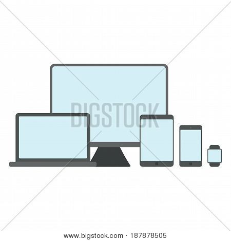 Set of devices isolated on white background. Flat vector illustration.