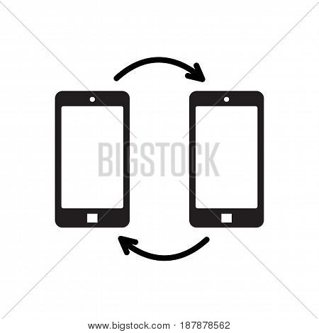Icon black mobile phone and arrows isolated on white background