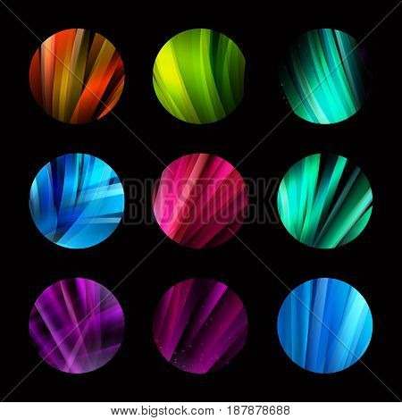 Colorful circle abstract colorful structure logo with lines set. Future shape development design