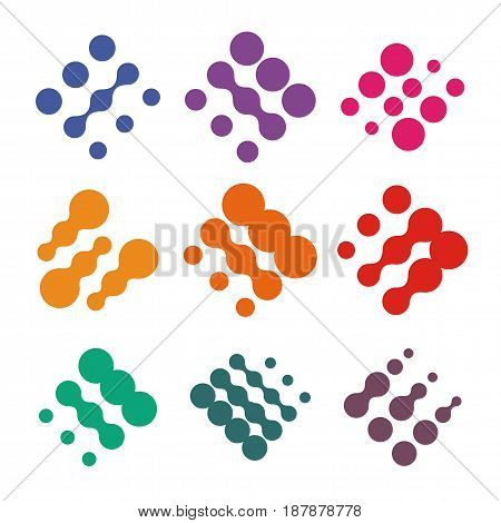 Abstract vector logo set from dots. Colorful technology nano chip logotype collection