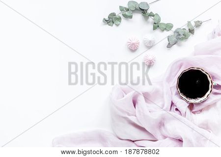 sweet marsh-mallow and spring flowers on woman white desk background top view mockup