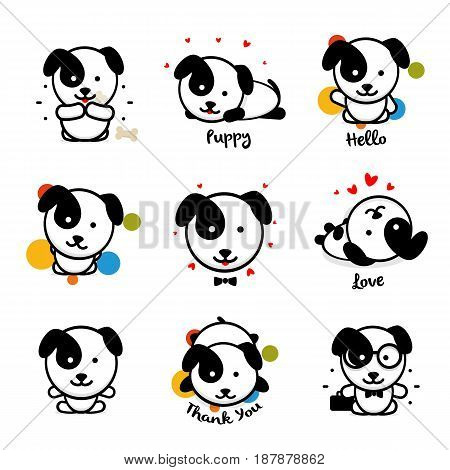 Cute puppy vector logo set. Favorite pet logotype collection. Joyful and cheerful human friend in the cartoon style icons, is played in a bone, lies, loves, welcomes and rests.